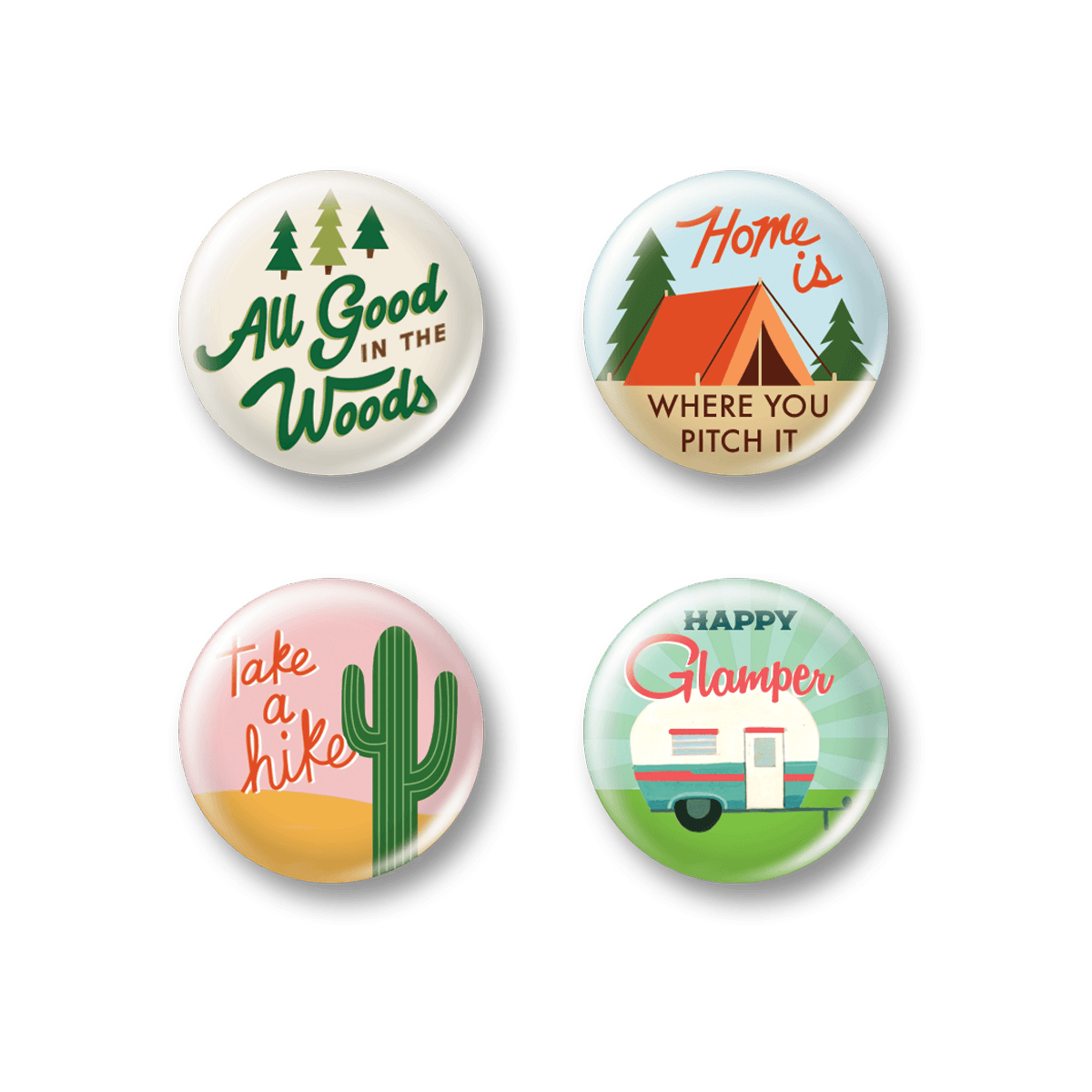 Happy Camper Button Pins.