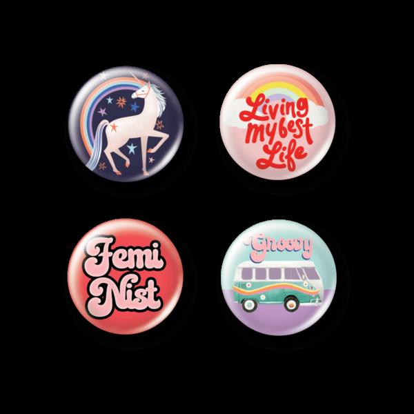 Girl Power Button Pins.