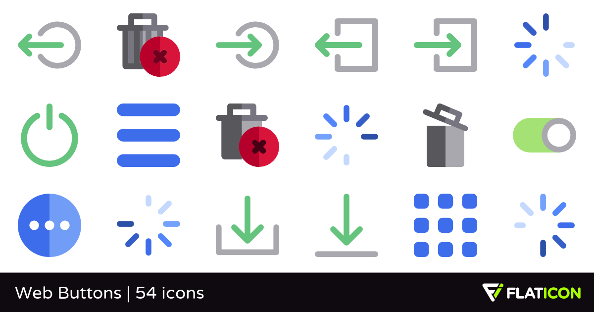 Web Buttons 54 free icons (SVG, EPS, PSD, PNG files).