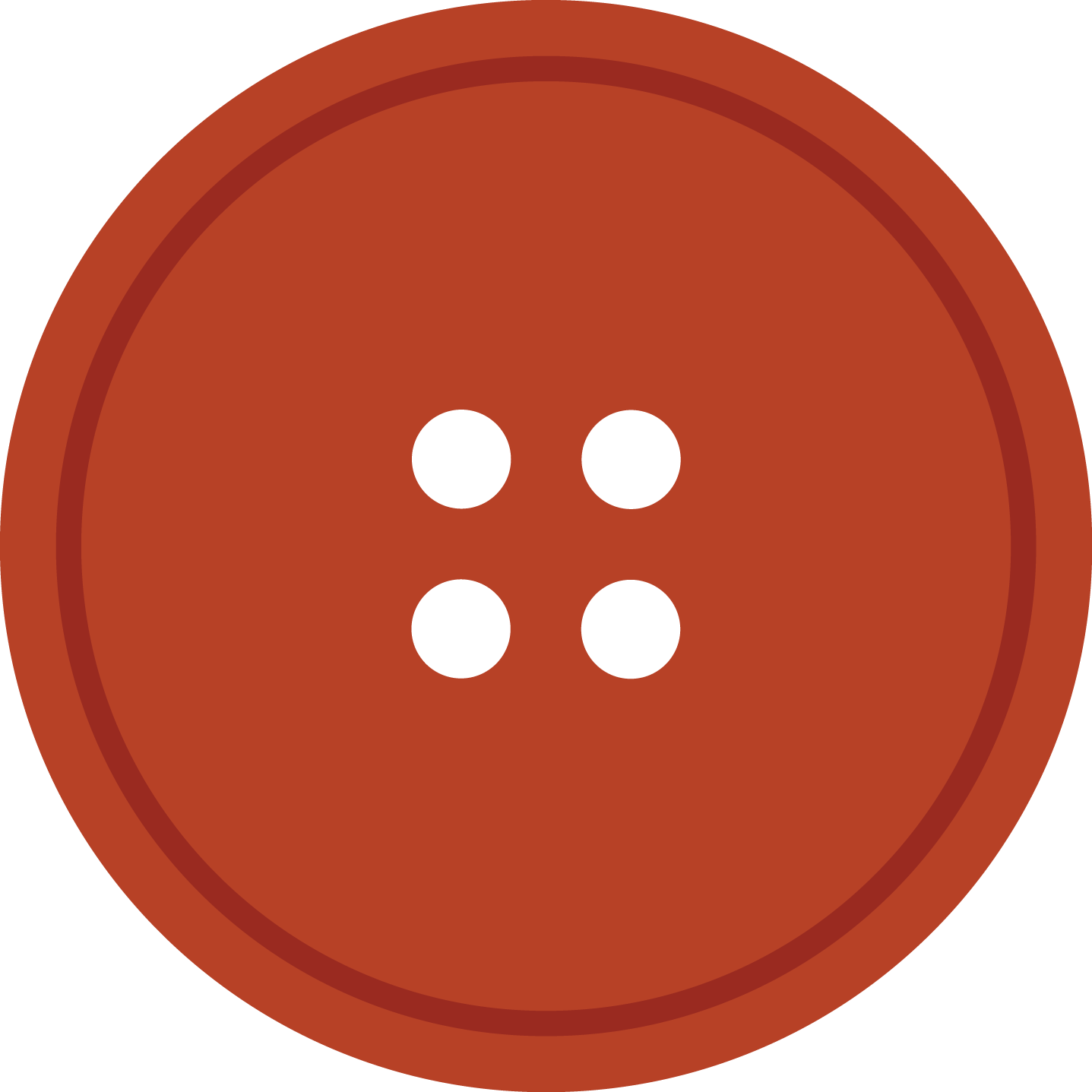 Bright Rediant Round Cloth Button With 4 Hole PNG Image.