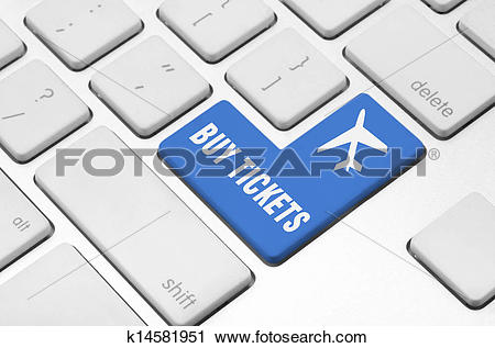 Clipart of Buy tickets on the computer keyboard k14581951.