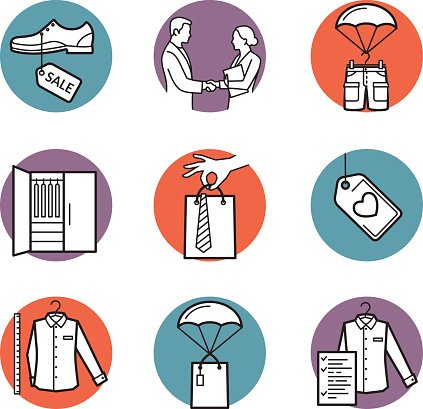 Vector icons of clothing buy, sell, delivery Clipart Image.