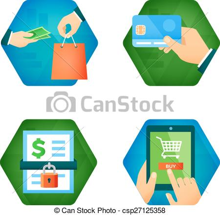 Clipart Vector of Set of icons about online shopping, pay buy card.