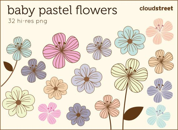 buy 2 get 1 free Baby Pastel Flower clip art for personal.