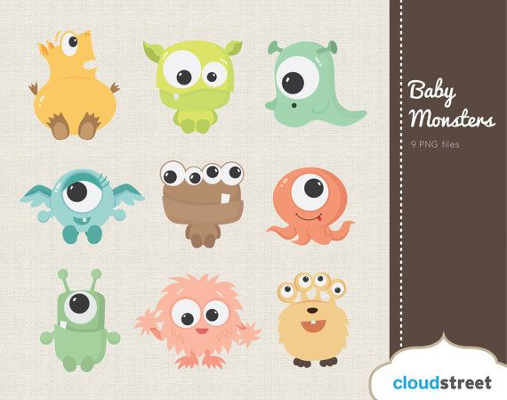 buy 2 get 1 free Cute Baby Monsters Clipart for Personal and.