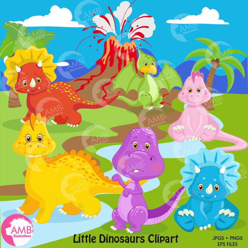 Dinosaur clipart, baby dinosaur, dinosaur digital clipart, Volcano,  background, digital clipart, Commercial Use, AMB.
