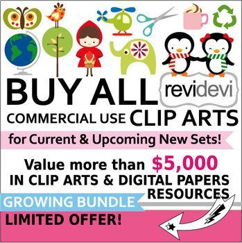 Buy all commercial use CLIP ART Growing Bundle (Lifetime Access to.