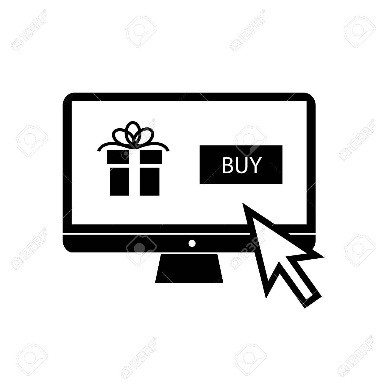Vector buying christmas gift online on personal computer with...