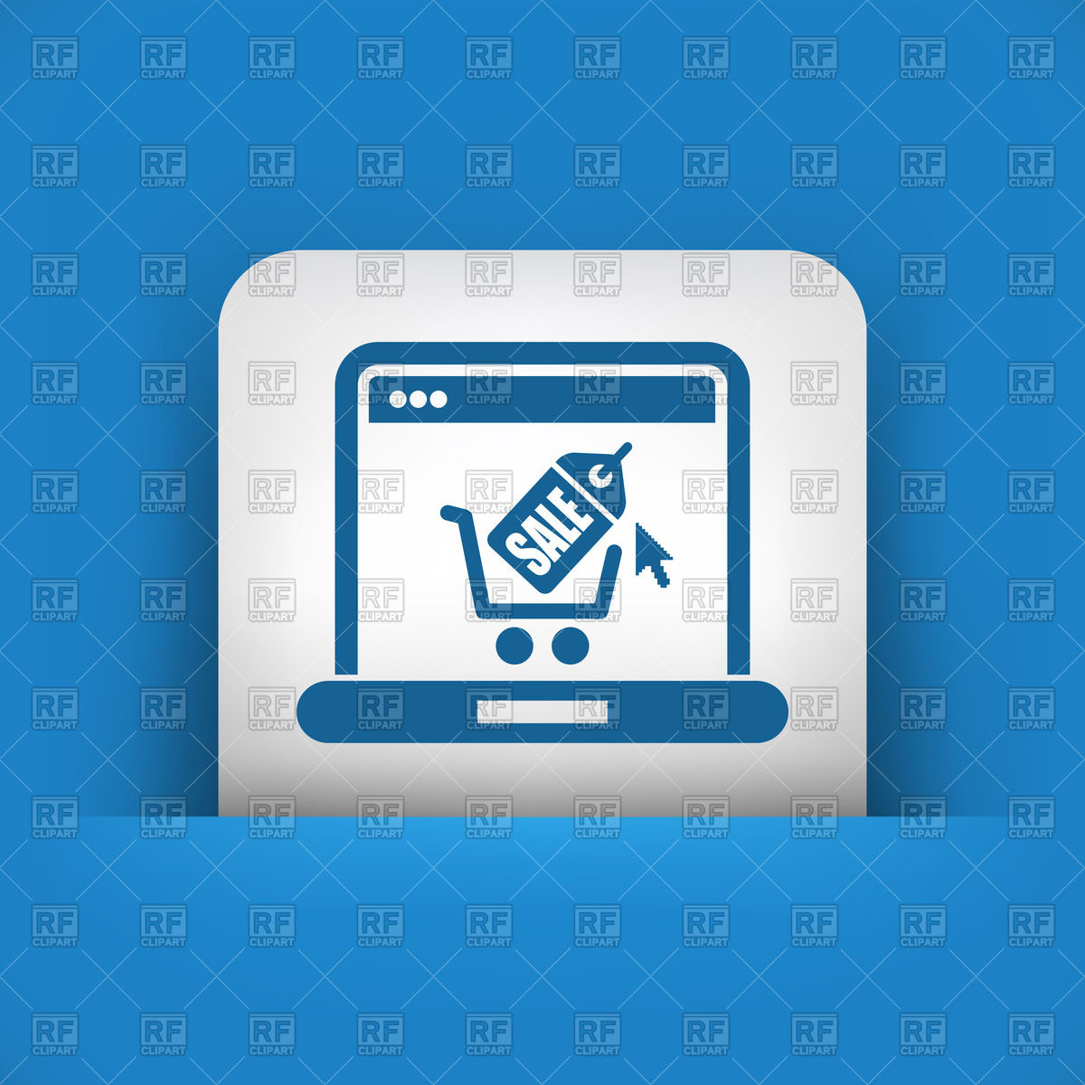 Buy online concept icon with shopping cart on laptop Stock Vector Image.