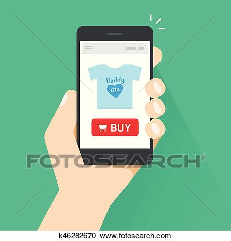 Online store on mobile phone vector illustration, internet shop website on  smartphone screen in hand Clipart.