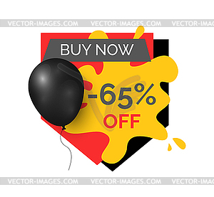 Buy Now 65 Percent Discount, Shop Store Sale Icon.