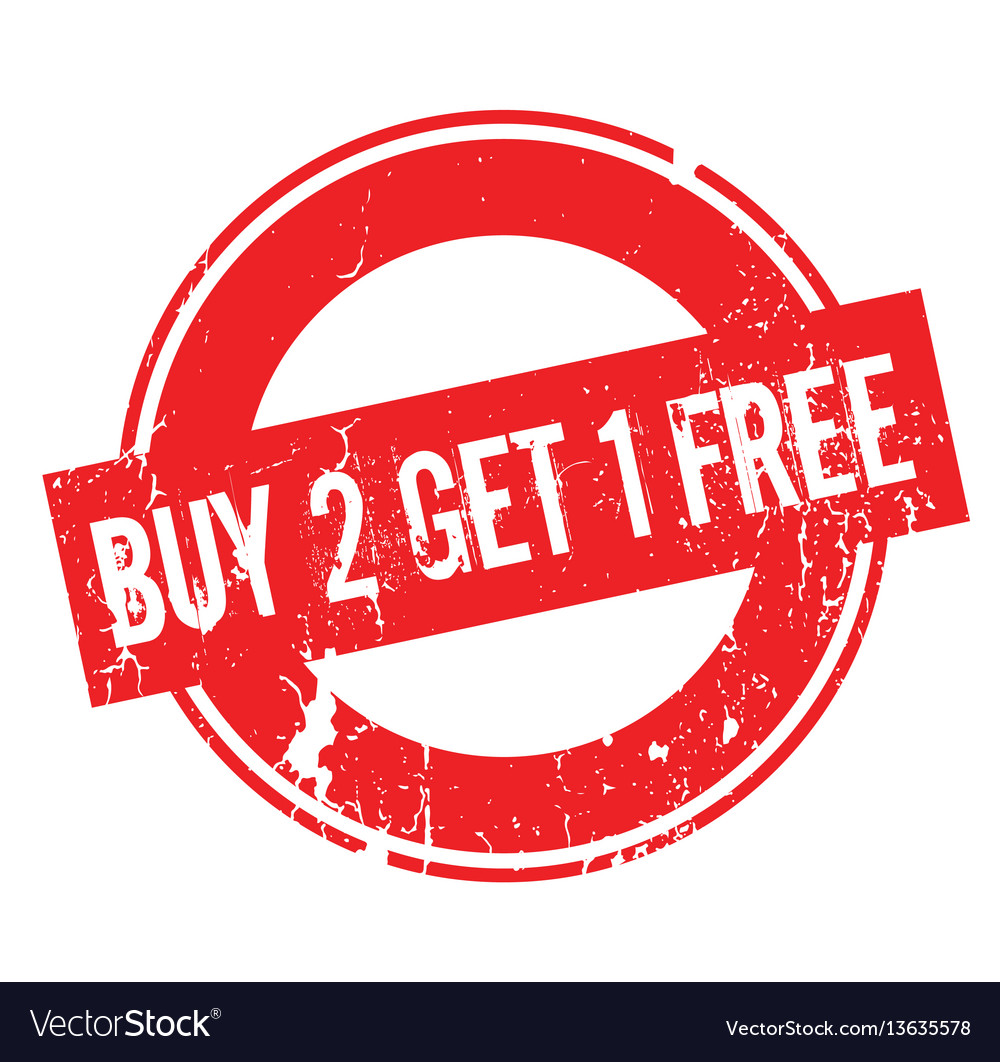 Buy 2 get 1 free rubber stamp vector image.
