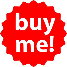 Red buy me badge icon.