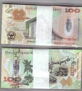 Details about PAPUA NEW GUINEA FULL BUNDLE 100X 100 KINA HYBRID BANKNOTE  UNC P37 COMMEMORATIVE.