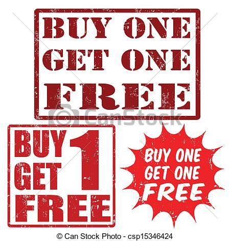 Vector Illustration of Buy one get one free stamps.