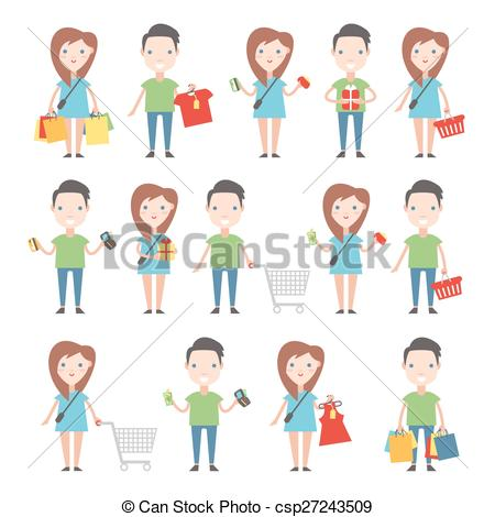 Vector Clipart of Happy buyers set. Men and women with shopping.