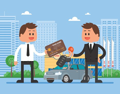 Car sale vector illustration. Customer buying automobile.