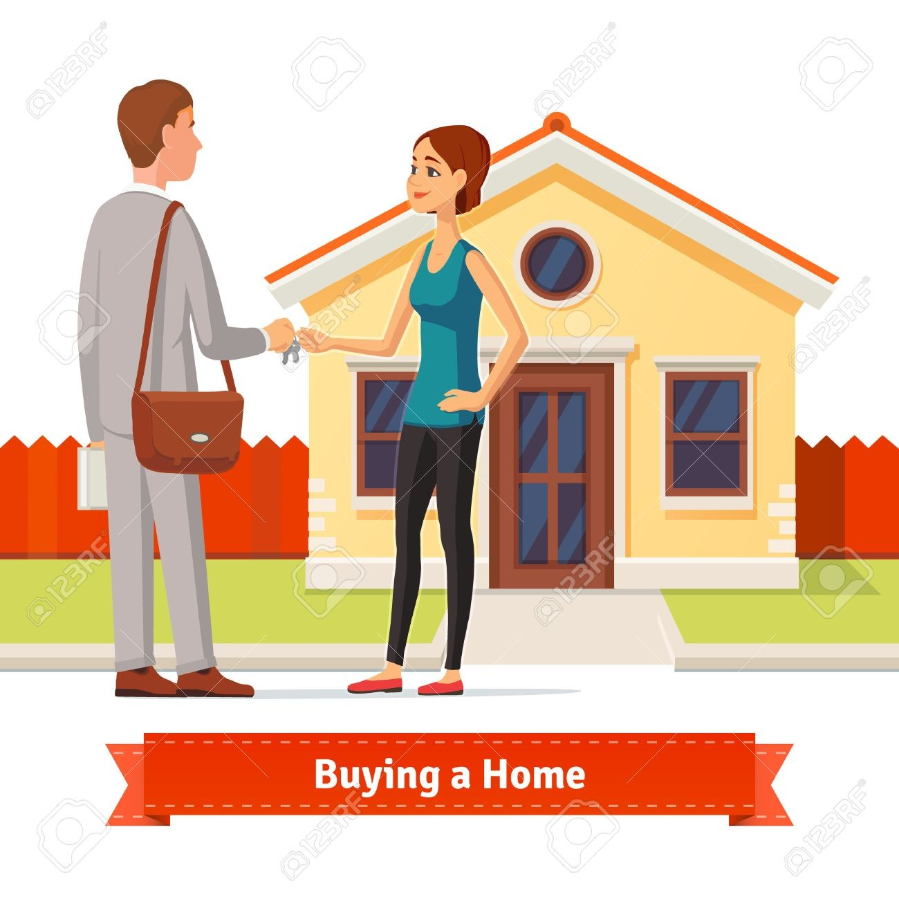 With Clipart New House 51018309 Woman Buying A Real Estate Agent.
