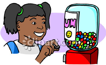 African American Girl Buying A Gumball.