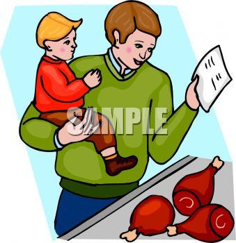 Royalty Free Clip Art Image: Boy and His Dad Buying Meat at the.