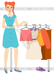 Woman Buying Clothes, Shopping Female Character.