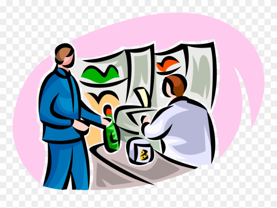 Vector Illustration Of Shopper Buys Food Items At Supermarket.