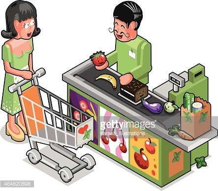 Young Woman Buying Organic Grocery IN Health Food Store premium.