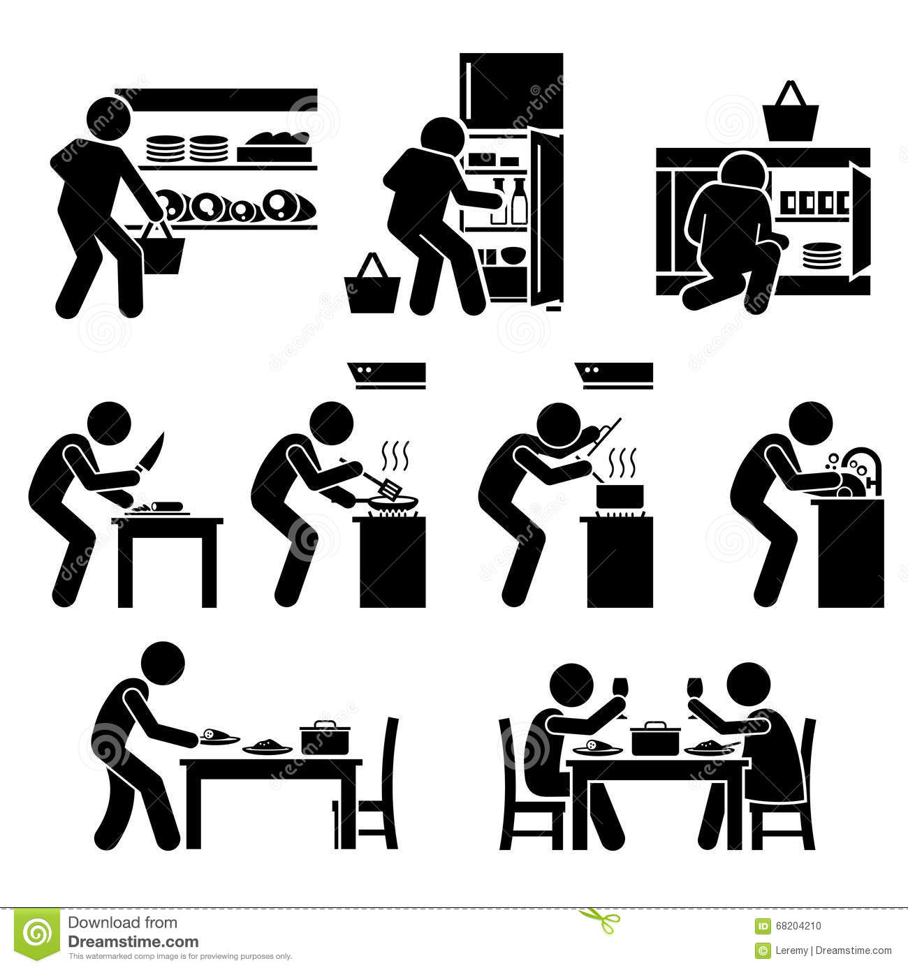 Cooking At Home And Preparing Food Clipart Stock Vector.
