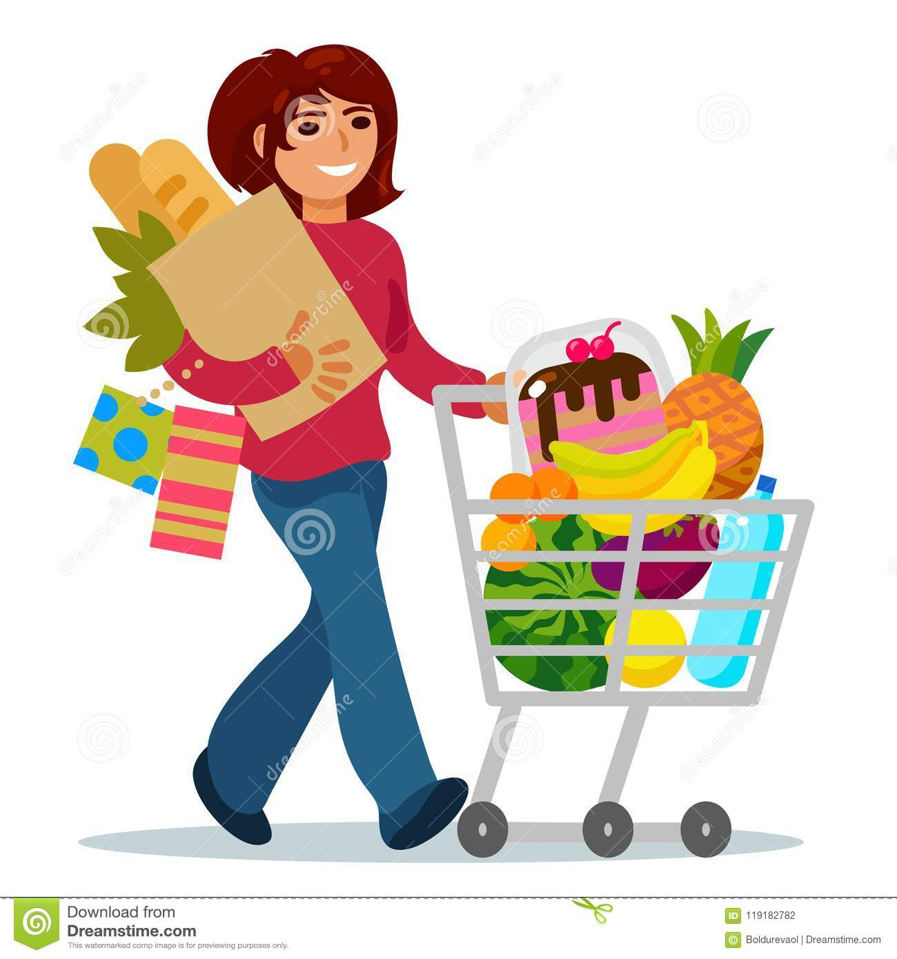 Woman With A Shopping Cart Buying Food Stock Vector.