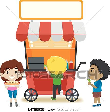 Kids Buying Food at the Food Stall Clipart.
