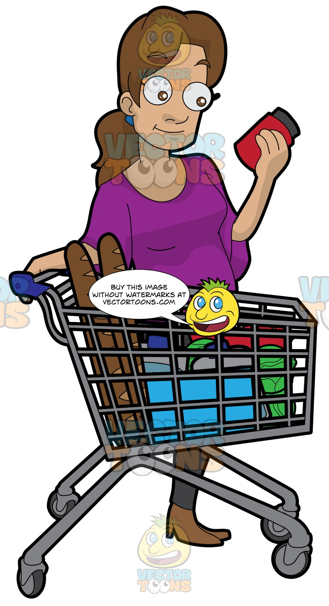 A Woman Checking Some Ingredients On A Food Item Before Buying.