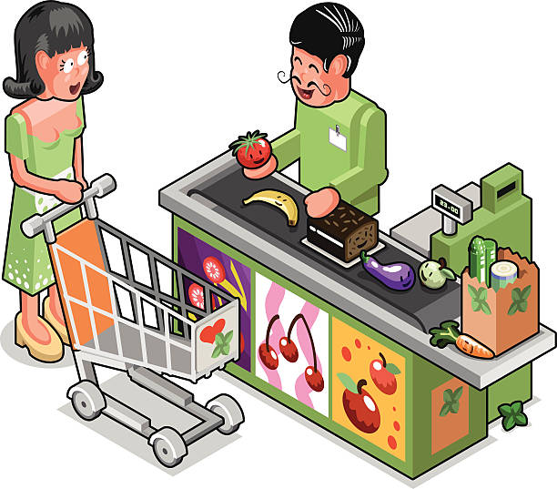 Buying Groceries Clipart.