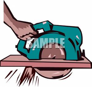 Free Clipart Image: A Hand Holding a Buzz Saw.