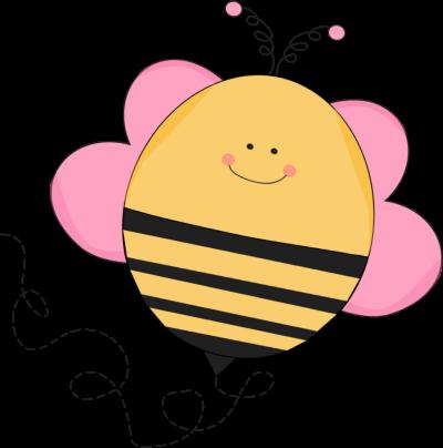 Buzzing Pink Bee Clip Art.