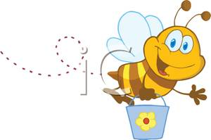 Buzzing Bee Holding a Bucket Clipart Picture.