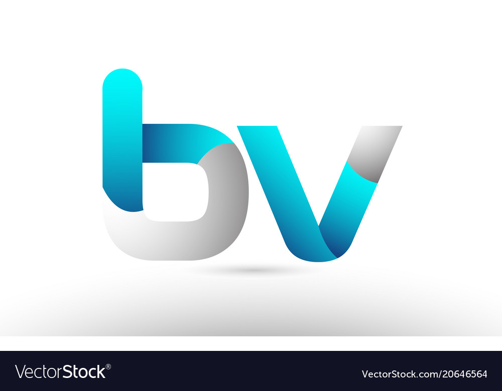 Grey blue alphabet letter bv b v logo 3d design.