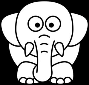 Cartoon Elephant Bw Clip Art at Clker.com.