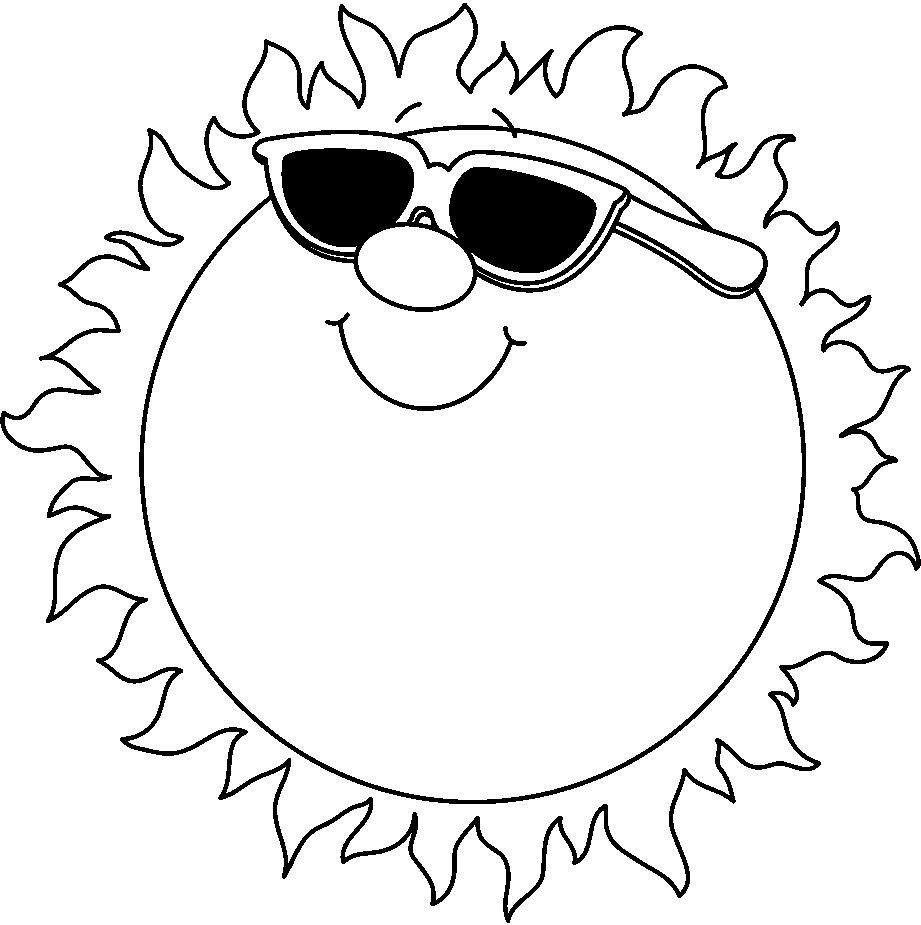 free black and white clip art summer.