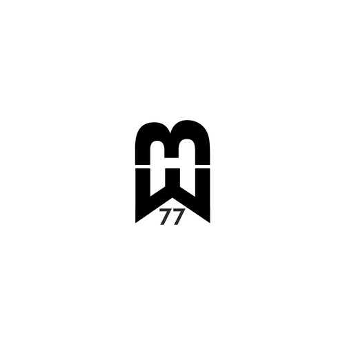 BW 77 logo for golf ball in the style of tiger woods.