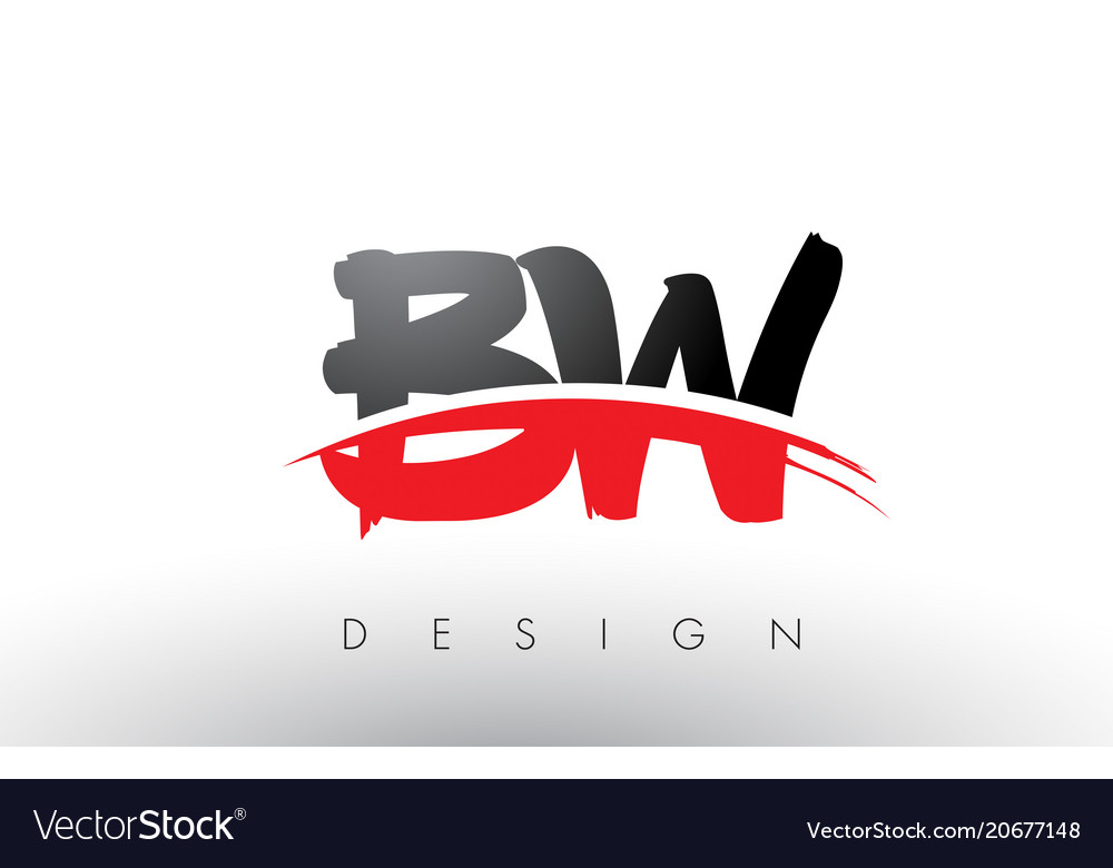Bw b w brush logo letters with red and black.