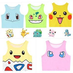 Harajuku Sexy Girls Cosplay Pokemon Camisole Cute Crop Tops Vest.