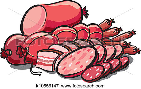 Clip Art of sausages and ham k10556147.