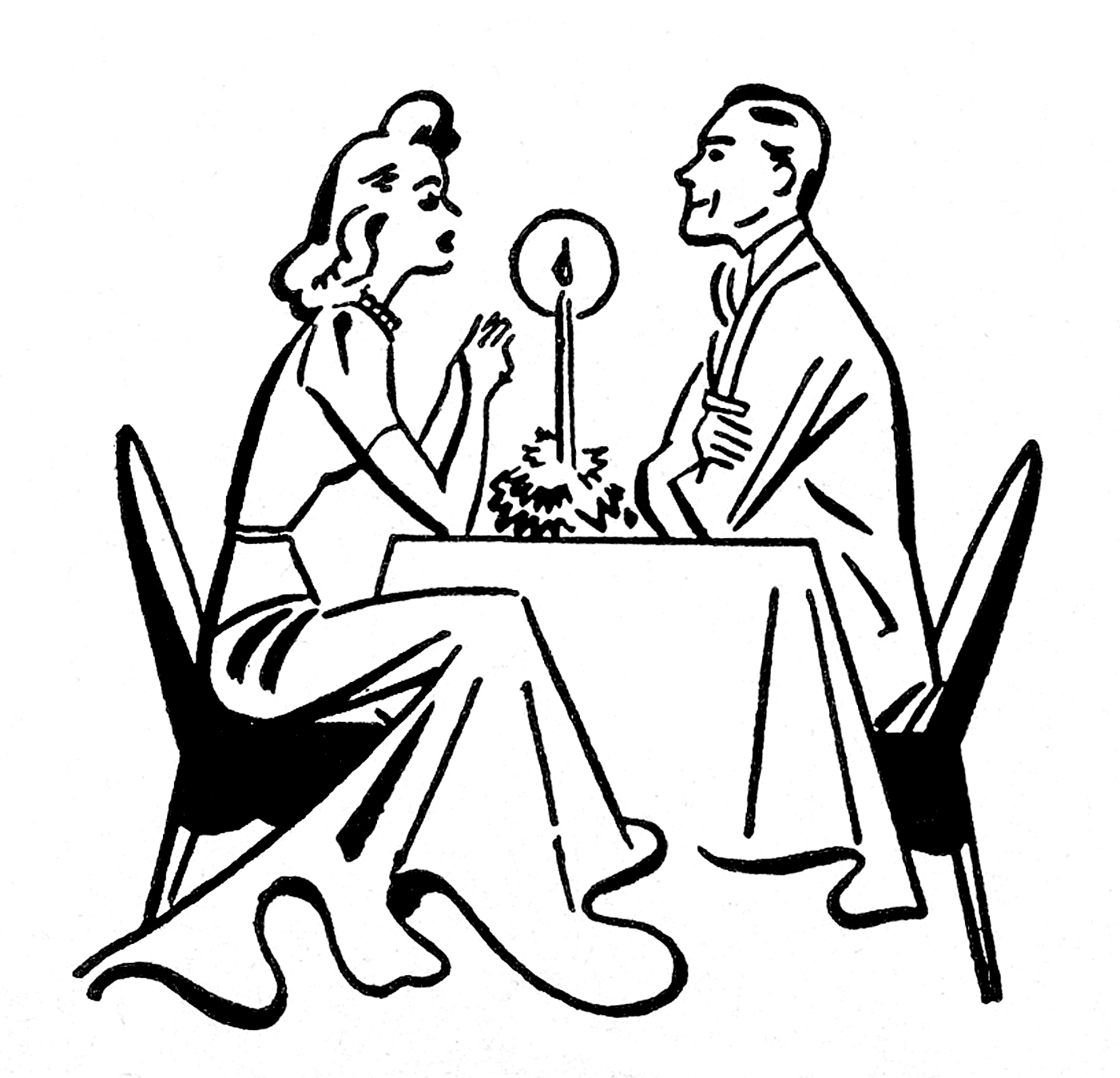 Candlelight dinner clipart free.