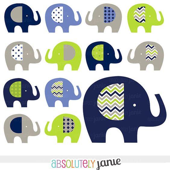 Navy Lime Grey Baby Elephant Digital Clipart.