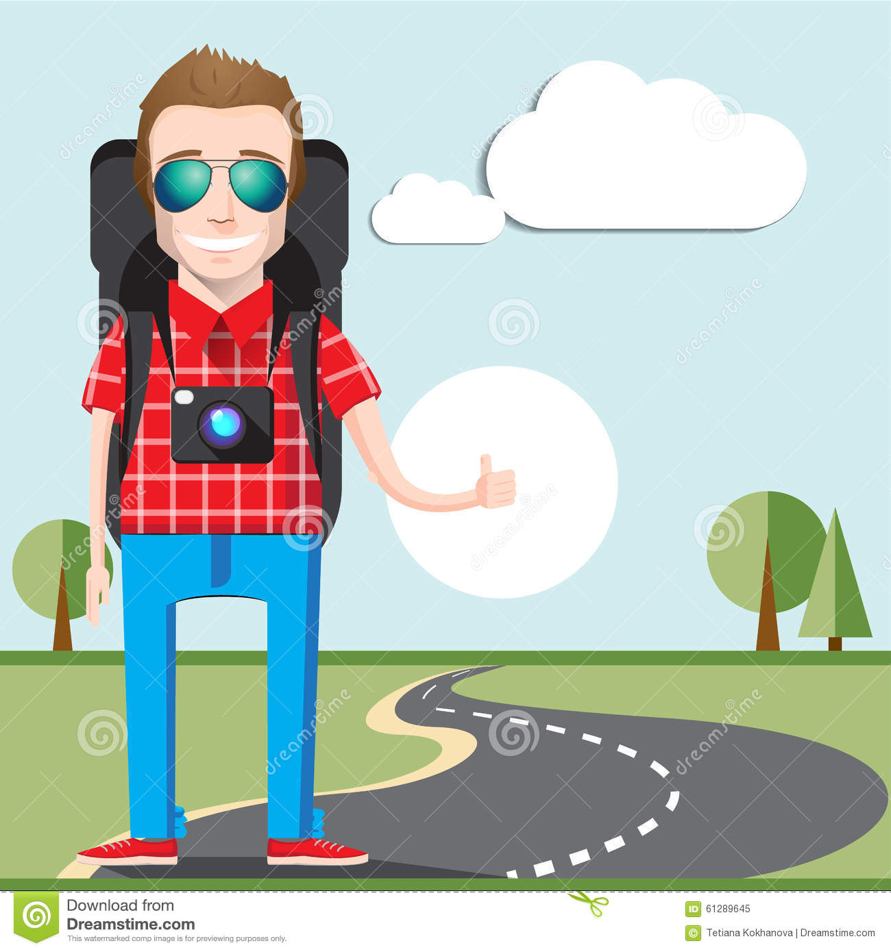 Hitchhiking Vector Concept Stock Vector.