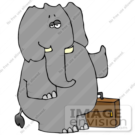 Elephant With Luggage, Hitchhiking Clipart.