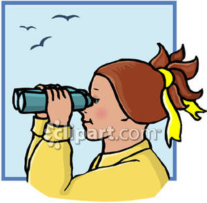 Woman looking for something clipart.