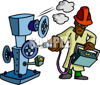 Royalty Free Clip Art Image: Machine Inspector Checking Gauges on.
