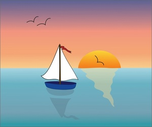 The Boat at Sea Clip Art.