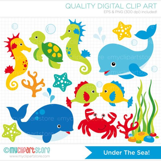 Clipart Under the Sea 1 / Dolphin / Whale by MyClipArtStore.